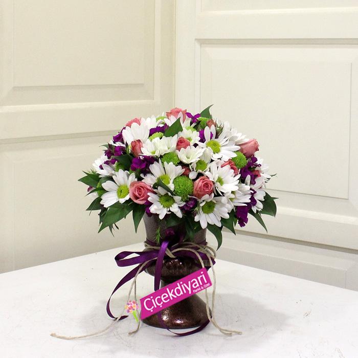 Bakır Kupada Çiçekler, çiçek siparişi, Bahar Çiçekleri