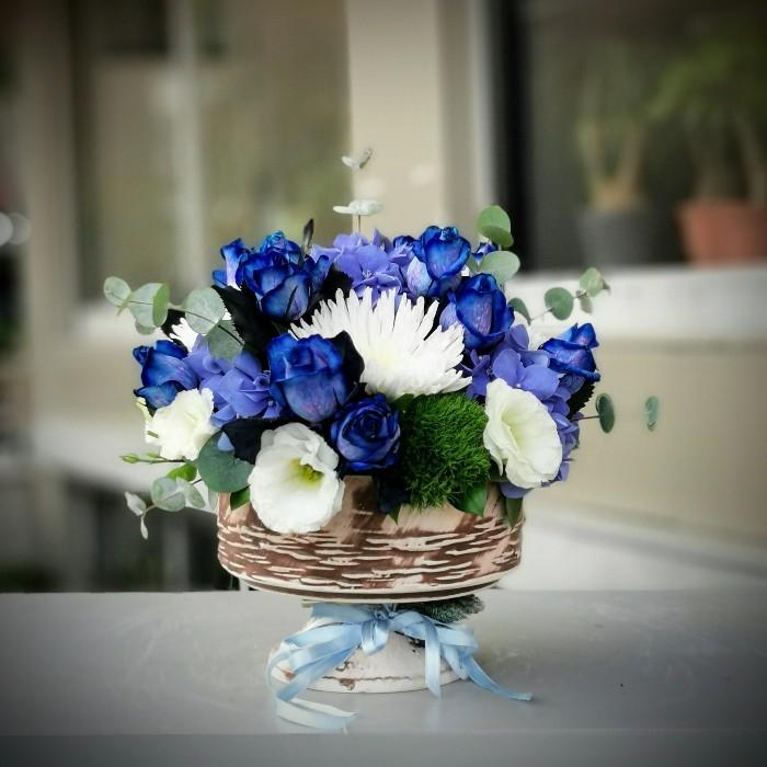 Mavi Gül Çiçek Aranjman