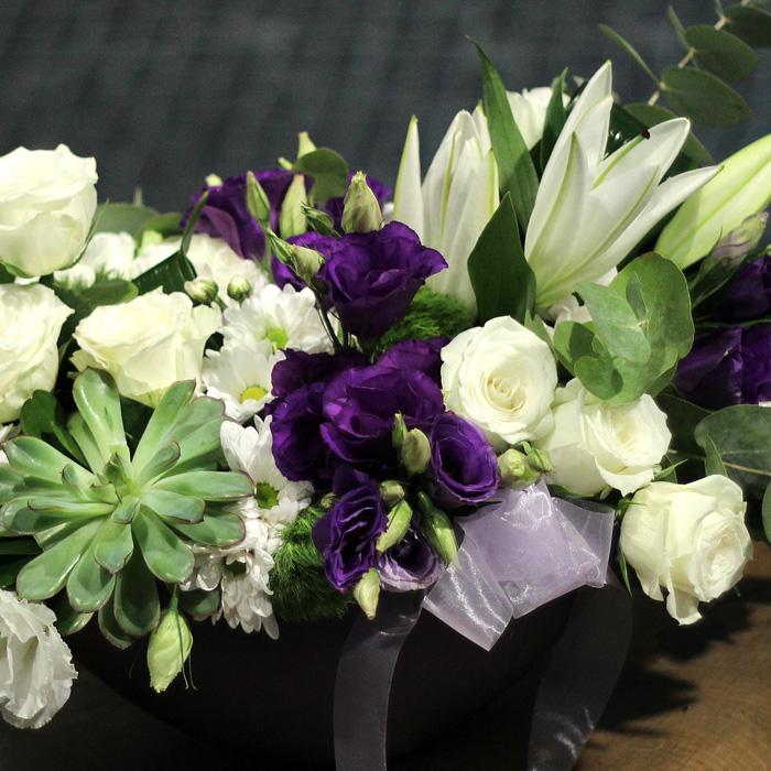 Çiçek Sepeti Mor-Beyaz